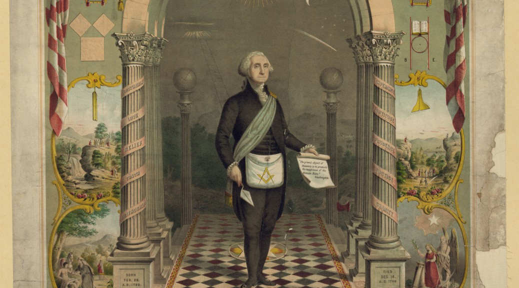 Picture showing George Washington as a freemason, 1866 (Picutre: By Strobridge & Gerlach lithographers [Public domain], via Wikimedia Commons).